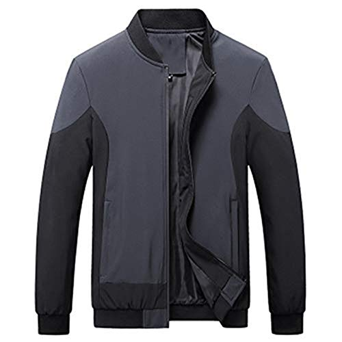 Oukeep Men's Casual Jackets for Autumn and Winter, Baseball Collar Men's Tops, Color-Blocking Fashion Urban Youth Jackets