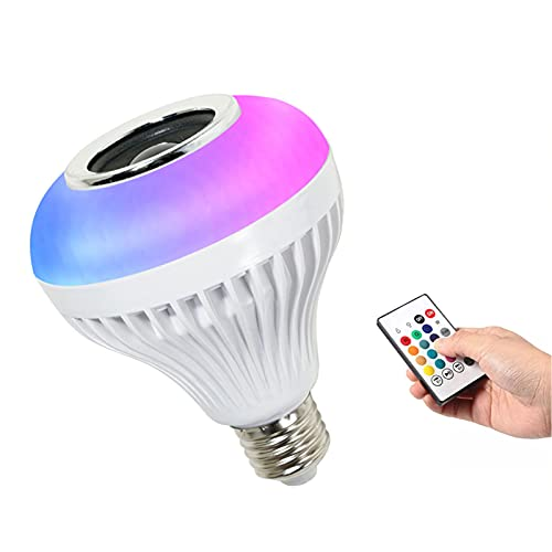 LCYZ Bombilla Inalámbrica Bluetooth, Bombilla Música RGBW con Altavoz Bluetooth, 12W Bombilla Color Cambiante Base E27, Bombilla Inteligente LED para Decoración Fiestas En Casa