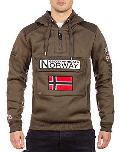 Geographical Norway - Sudadera con capucha para hombre caqui L