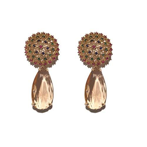 BAJIE Earring Fashion Clear Crystal Cubic Zirconia Luxury Elegant Bridal Flower Earring For Women
