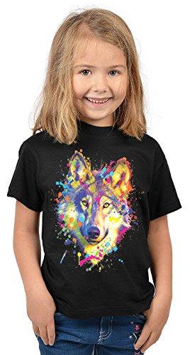 Mädchen-Motiv-Shirt/Kinder-Shirt mit Tier-Druck: Wolf - tolles Geschenk- Cooler Look/kräftige Farben