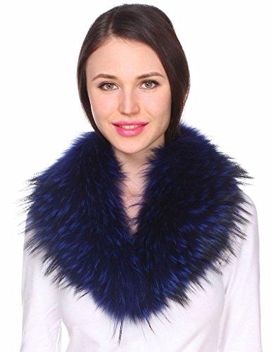 Ferand - Bufanda Chal Cuello de Piel de Mapache Auténtico DesmontableTeñido para Abrigo Chaqueta Chaleco Parka de Mujer Azul