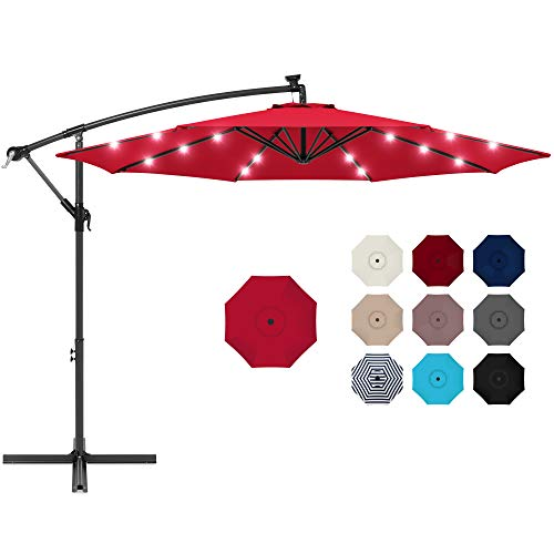 Best Choice Products 10ft Solar LED Offset Hanging Market Patio Umbrella for Backyard, Poolside, Lawn and Garden w/Easy Tilt Adjustment, Polyester Shade, 8 Ribs - Red