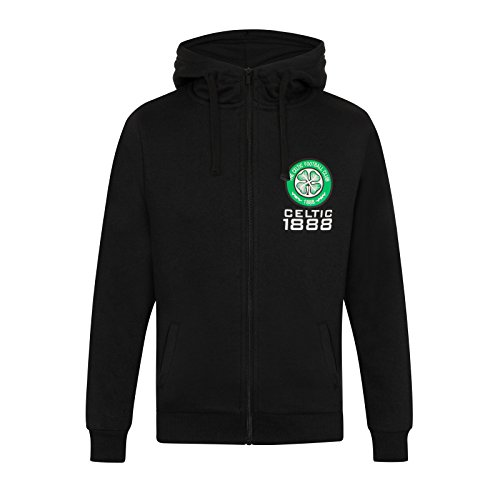 Celtic FC Official Soccer Gift Mens Fleece Zip Hoody Black XL