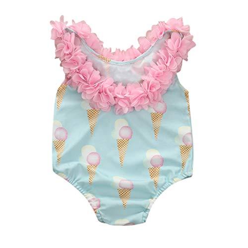 Kehen- Infant Toddler Baby Girls One-Piece Swimsuit Flower Backless Halter Swimwear for Beach (Blue, 2-3T)