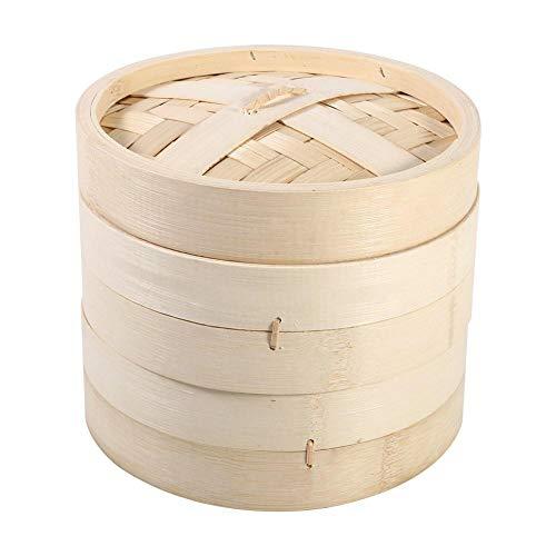 Cestello per cottura a vapore, 4 dimensioni 2 livelli Cestello per cottura a vapore in bambù Fornello per alimenti per cottura di riso naturale cinese con coperchio Nuovo(18cm)