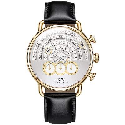 Relojes para Hombre De Cuarzo 2.5D Curvo De Piedras Preciosas Dial 42 Mm Espejo Personalidad Pista, Único Elite Encanto White/A