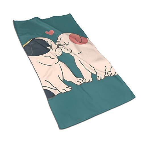 Genertic 27.5 * 15.7in Handdoek Engels Bulldog Kus Twee Honden In Liefde Zachte Super Absorbent Fluffy Handdoek Katoen Gepersonaliseerd Vierkant Gezicht Zacht Hotel Bad