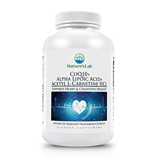 Nature's Lab CoQ10 + Alpha Lipoic Acid + Acetyl L-Carnitine HCl - Supports Heart Health, Brain Health, and Cellular Health - 120 Capsules (2 Month Supply)