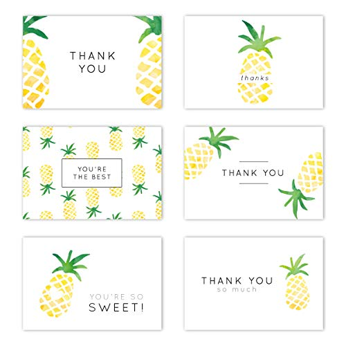 Gooji 4x6 Pineapple Thank You Cards (Bulk 36-Pack) Matching Peel-and-Seal White Envelopes | Assorted Set, Watercolor, Colorful Graphics | Birthday Party, Baby Shower, Weddings, Graduation Blank Notes