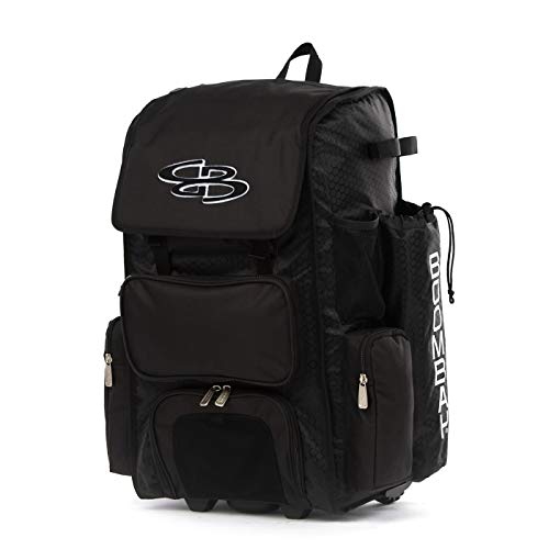 "Boombah Rolling Superpack 2.0 Baseball/Softball Gear Bag - 23-1/2"" x 13-1/2"" x 9-1/2"" - Black - Telescopic Handle - Holds 4 Bats - Wheeled Version"