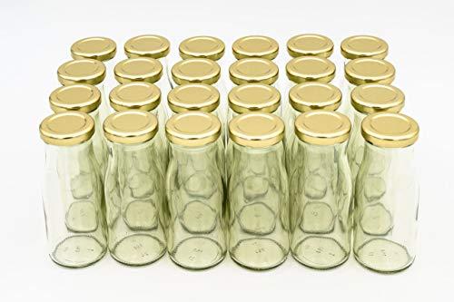 24 Leere Flaschen, kleine Glasflaschen 150 ml weiß TO43 mit goldenen Verschluss. Kleine Flaschen zum Befüllen von Milchflaschen, Saftflaschen, Schnapsflaschen klein oder als Vasen Deko benutzbar