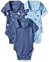 Hanes unisex baby Ultimate Flexy 3 Pack Short Sleeve Polo Bodysuits Bodystocking, Sky, 0-6 Months US