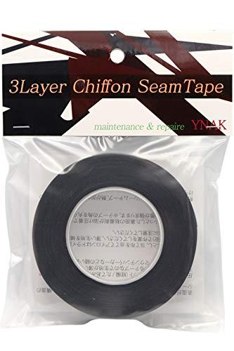 YNAK シームテープ レインウェア 補修 3レイヤー適合 テント不適正 シフォンタイプ 表面柔軟布 縫い目 リペア シームレス 防水 対策 メンテナンス 用 アイロン式 (幅20mm×17m Black)