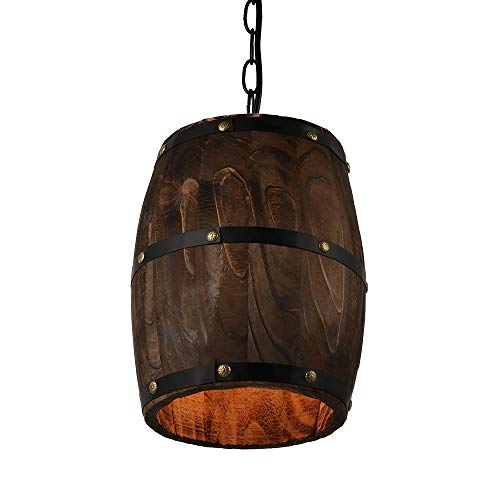 Newrays Antique Wood Wine Barrel Pendant Lamp Hanging Rustic Unique Kitchen Bar Ceiling Lamp Light Fixtures (XS)