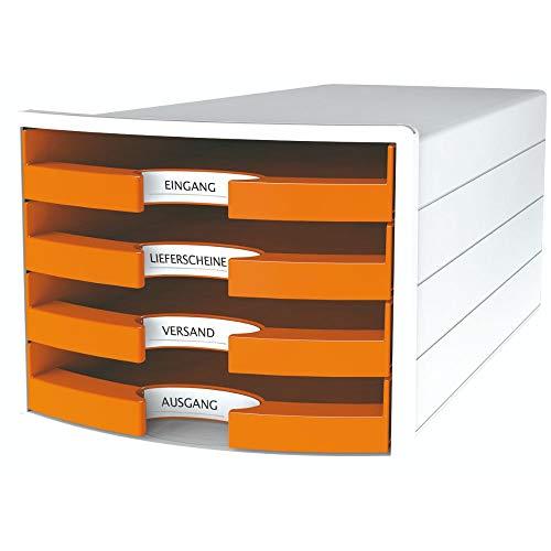 HAN Schubladenbox IMPULS 2.0 – innovatives, attraktives Design in höchster Qualität. Mit 4 offenen Schubladen für DIN A4/C4, weiß-orange, 1013-51