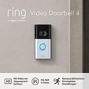Die neue Ring Video Doorbell 4 von Amazon – HD-Video mit Gegensprechfunktion, Pre-Roll-Videovorschau in Farbe, Akkubetrieb | Mit kostenlosem 30-tägigen Testzeitraum für Ring Protect