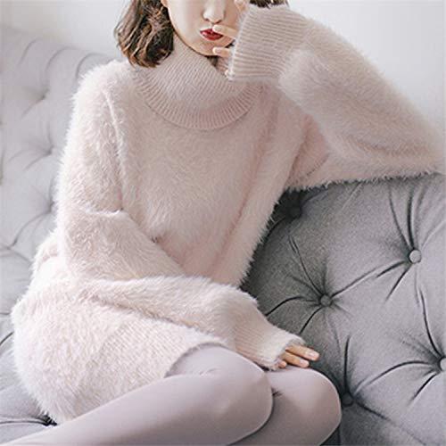 JFHGNJ Herfst Winter Vrouwen Truien Truien Coltrui Mink Cashmere Elegante Zoete Roze Effen Lange Tops