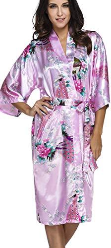 OLIPHEE Lange Kimonos für Damen Bademantel aus Satin mit Pfau und Blüten Morgenmantel Robe Pink 3XL