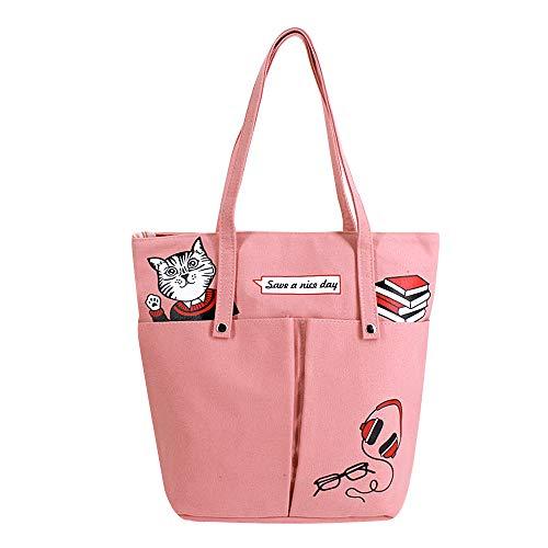 Milya Einkaufstasche aus Segeltuch Jutebeutel Canvas Umhängetasche Handtasche Shopper Stofftasche mit Reißverschluss Katze Motiv Pink