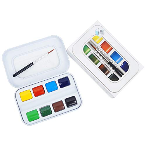 Sennelier L'Aquarelle French Watercolor Paint, Aqua Mini Set of 8 Half Pans