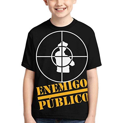 YYTY Enemigo PUBLICO Camiseta de Manga Corta con Cuello en O Impresión 3D Tops creativos Niños Niñas