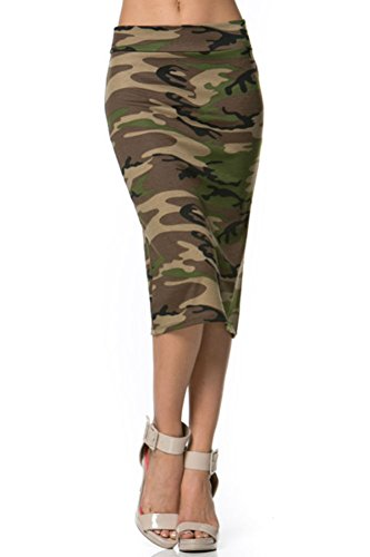 Azules Women's below the Knee Pencil Skirt - Made in USA,Camo,Large
