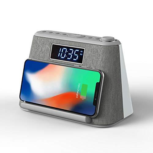 Radio Despertador Digital Bluetooth con Carga Inalámbrica y cargador USB, Radio FM, Lámpara de luz Nocturna LED, Pantalla LCD Regulable y Máquina de Ruido Blanco, Despertador Digital