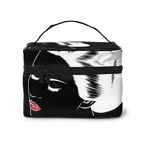 Belle Japonaise Geisha détient Ventilateur Rouge Voyage étui de Maquillage Maquillage étui à cosmétiques Organisateur Sac de Rangement Portable