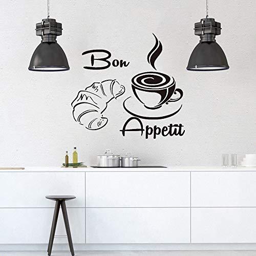 Bon Appetite café croissant vinilo pegatina cocina restaurante comedor papel pintado impermeable pared moderna calcomanía A8 58x 62 cm