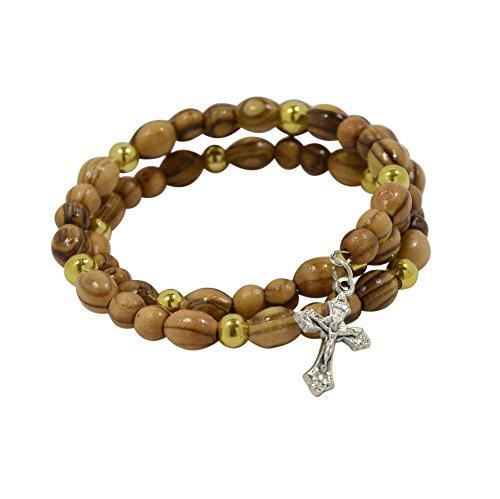 Rosenkranz-Armband mit Kreuz-Anhänger, echtes Olivenholz, elastischer Draht in Rosenkranz-Beutel