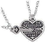 Legisdream 2 Collane Divisibili Amore per Due con Chiave e Cuore - Only Keyholder Can Unlock My Heart - Solo Il Detentore della Chiave può Aprire Il Mio Cuore Gioiello Fidanzati Coppie Anniversario