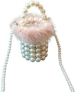 TOOGOO Woven Pearl Bag in Buckets Beaded ABS Handbag Turkey Bags Autumn & Winter Ladies Knitting Bag Pink