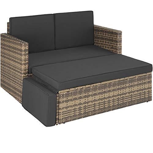 TecTake 800884 Poly Rattan Lounge Set, 2-Sitzer Sofa mit Rückenlehne, großer Hocker mit klappbarer Stütze, inkl. Dicke Auflagen, Gartenmöbel Set für Garten & Terrasse (Natur | Nr. 403688)