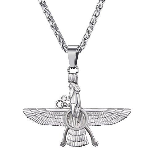 U7 Faravahar Farohar Forouhar Anhänger Halskette Edelstahl Zoroastrismus Amulett Iranischen Persischen Männer Herren Schmuck, Silber-Ton