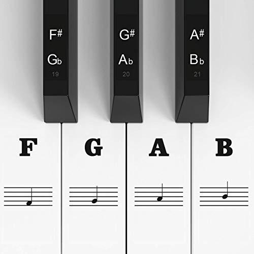 Adesivi per tastiera di pianoforte per 88/61/54/49/37 tasti, pianoforte e tastiera Note musicali Set completo di adesivi per tasti bianchi e neri, etichetta note per principianti