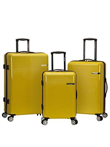 Rockland Horizon Hardside Expandable Spinner Wheel Luggage Set, Yellow, 3-Piece (20/24/28)