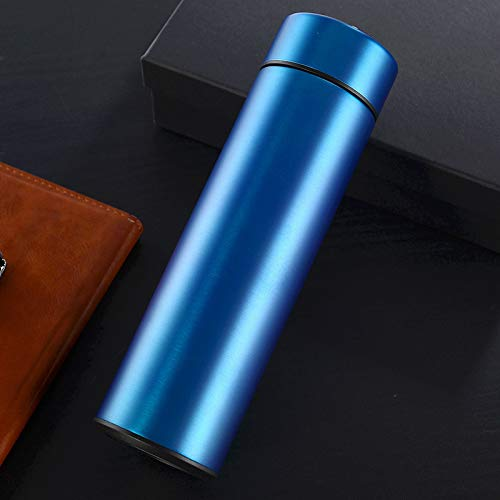 QAZW Botella de Agua de Acero Inoxidable,Termo de Acero Inoxidable,Frasco de Vacío de Botellas de Agua,para Deportes Al Aire Libre Senderismo Correr,Black-450ml