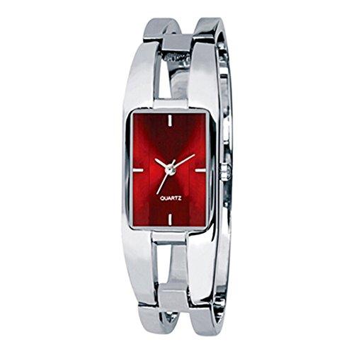 Broadfashion Bluelans® Kimio Elegantes Fraun Damen Armband Quarz Armbanduhr Edelstahl Uhr Damenarmbanduhr (Rot)