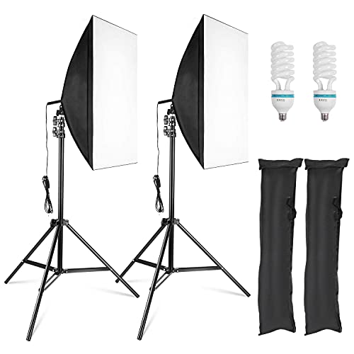 2X Softbox Set 50×70cm Studioset mit 2X 135 W 5500K E27 Softbox Lampen Energiesparlampen,Höhestellbare Lampenstativ 68cm-2m für Fotostudio,...