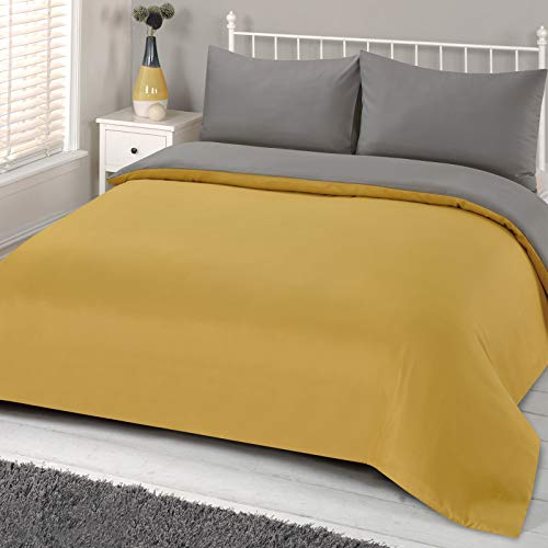 Brentfords Plain Dye Duvet Cover Quilt Bedding Set with Pillowcase, 100% Easy Care Polyester Microfibre, Ochre Yellow Grey, Single