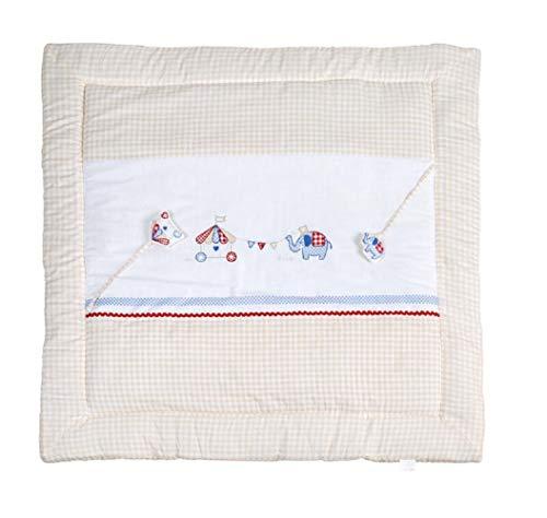 Roba 1406S170 Roba Tapis de jeu et d'éveil rembourré 100% coton avec jouets pour bébé Multicolore 100 x 100 cm