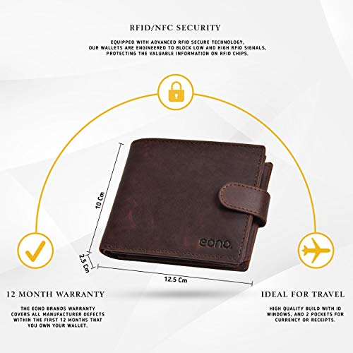 Eono by Amazon Geniuine Leather Wallet with RFID for Men-Coin comparment Multi Credit Card Slim Wallets (Brown Hunter)