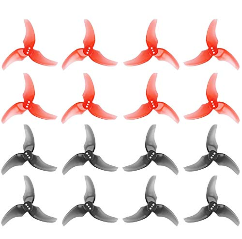 16pcs Emax Avan Rush 2.5 Inch 3 Blade Propeller Tri-Blade Props for Tinyhawk Freestyle Babyhawk R RC Drone FPV Racing MultiRotor Replacement (Transparent Gray + Transparent Red)