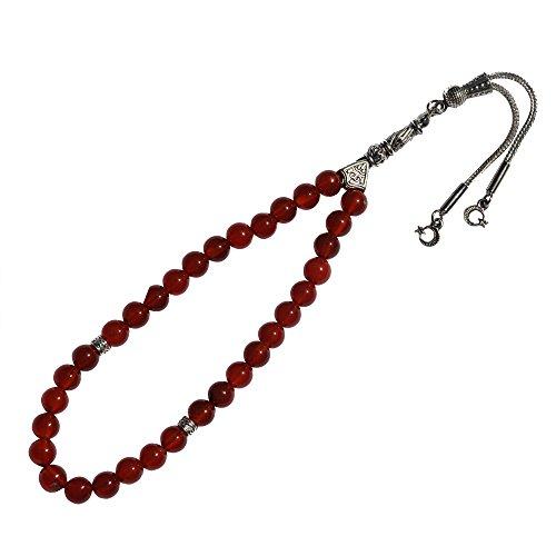 Rojo Cornalina ágata 33-bead musulmán Tasbih cuentas de oración islámica rosario hecho a mano w/diferentes ornamentales media luna encanto borlas (Star)