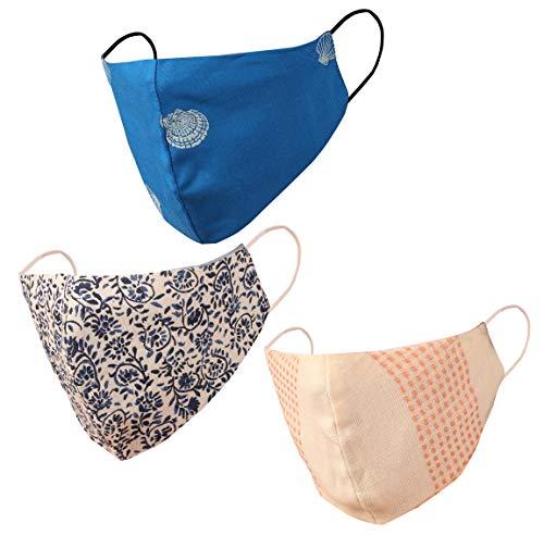 Touchstone Diseño floral Máscaras faciales de pequeño tamaño reutilizables a máquina Lavables a mano de algodón de doble capa para mujeres. (Paquete de 3). Azul Blanco Rojo