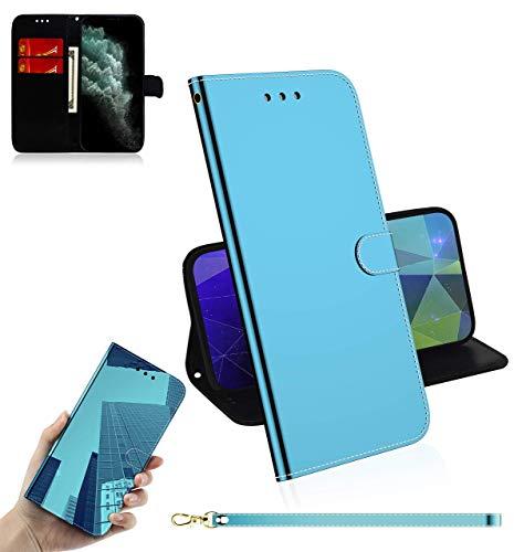 Sunrive Kompatibel mit Motorola Moto Z3 Play Hülle,Magnetisch Schaltfläche Ledertasche Spiegel Schutzhülle Etui Leder Hülle Cover Handyhülle Tasche Schalen Lederhülle MEHRWEG(Blau)