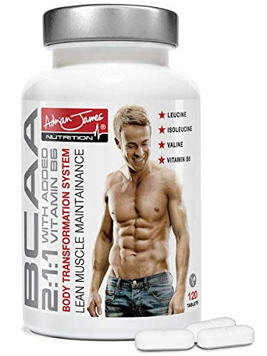 Adrian James Nutrition – BCAA Tablets for Men & Women, Essential Branched Chain Amino Acids with Added Vitamin B6, Premium Grade UK Made, Quality Assured, 120 Tablets