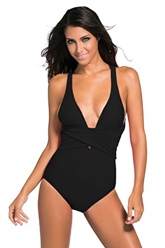 Swimsuit for Women One Piece Sexy Tummy Control Retro V Neck Strappy Bathing Suit M Black