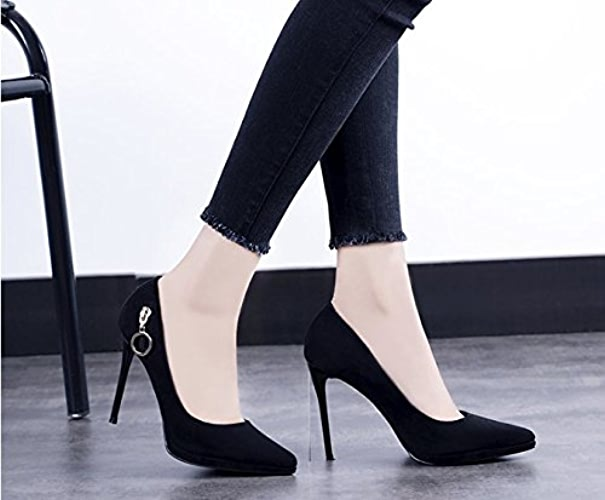 AJUNR Femmes Loisirs été Mode Chaussures Unique Tableau d'imperméabilisation 10cm de Talons Hauts en Daim Tête Pointue Sexy Bouche Peu Profonde Talon Fine Les Chaussures de noir